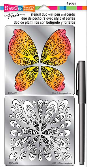 Stampendous Frans Stencil Duo With Pen And Cards