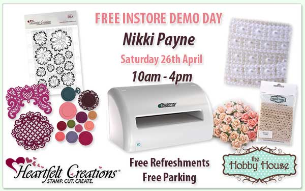 Demo Day with Nikki, Saturday 26th April at Stampalot Peterborough