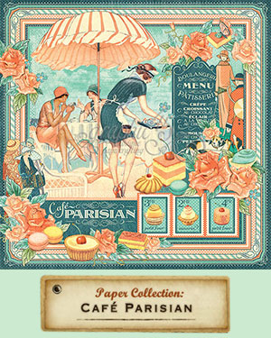 Graphic 45 Papers and Stamps, Cafe Parisian Collection 2016