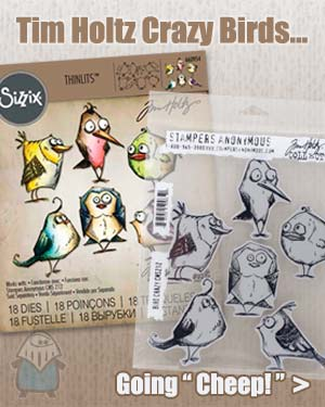 Tim Holtz Crazy Birds Sizzix Thinlit Cutting Dies and Stamps